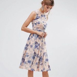 NWT ASOS floral midi dress peach & blue size 4